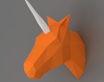 Unicorn - 3D papercraft model. Downloadable DIY template