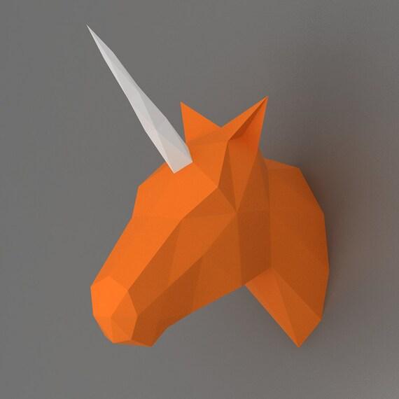 Wall Decoration 3d Model Free Download : Unicorn d papercraft model downloadable diy by nokapaperart