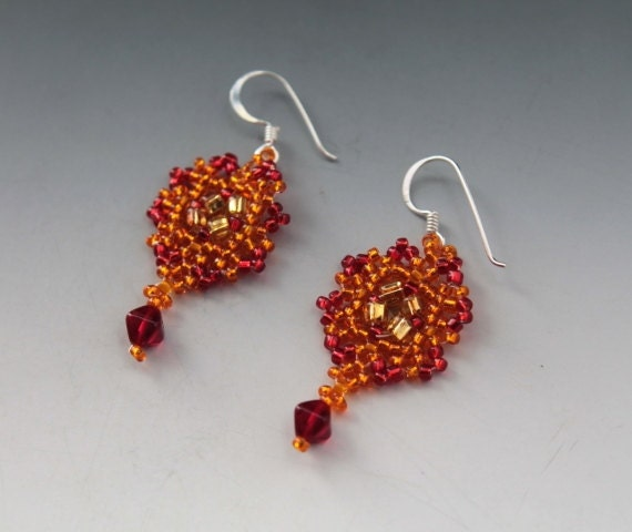 Fire- Small Red Phoenix Firebird Seed Bead Earrings - Handmade Beadwork Beaded Drop Jewelry Sterling Silver - Red Gold Orange