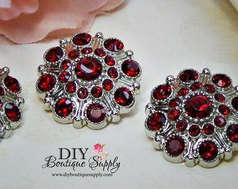 Large Rhinestone Buttons Garnet Red- Rhinestone Crystal buttons Embellishments Acrylic Flower centers Headband Supplies 28mm 3 pcs 604040
