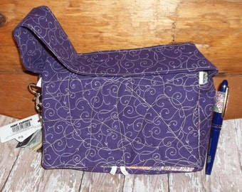 "Purple Elegantl Pink Swirl Fabric Coupon Organizer Tote Bag Quilted Sorts Coupons with Key and Pen Hoder 7' 'x 9"" X 2"" wide"