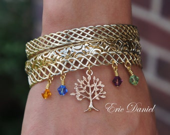 Personalized Family Tree Birthstone Stacking Bangles, Tree of Life, Family Jewelry, Family Bracelet
