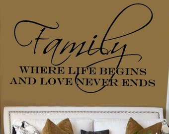 Family Where Life Begins Wall Lettering Stencil WW253
