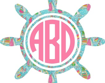 Monogram Car Decal, Car Decal, Nautical Wheel Monogram Decal