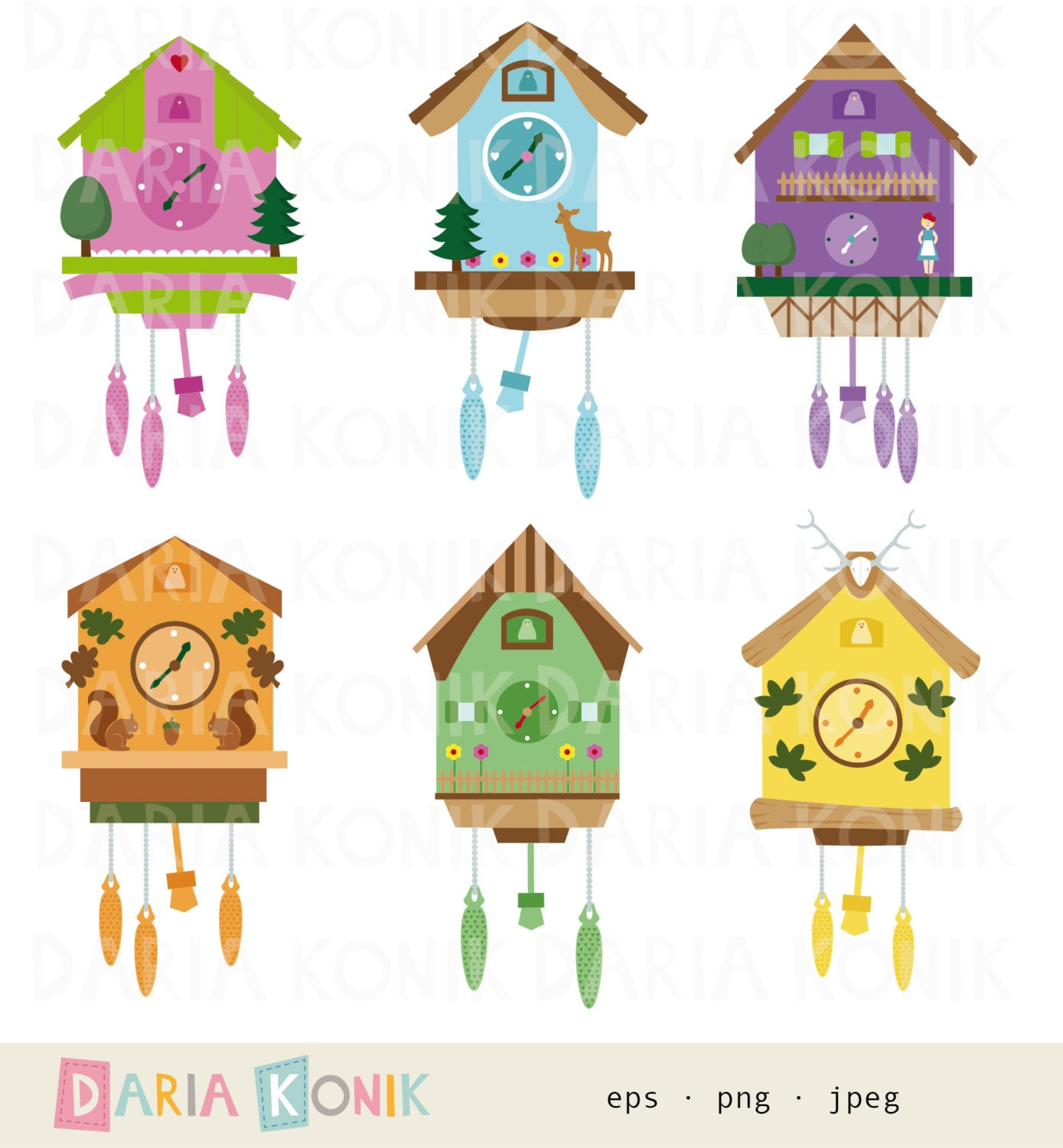 Cuckoo clocks clip art set cuckoo clocks clipart german - Colorful cuckoo clock ...