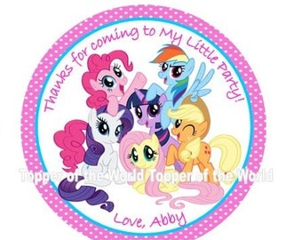 12 My Little Pony Personalized Birthday Party Favor Thank You Tags or Stickers You Choose