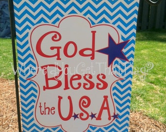 Custom Personalized Yard Sign God Bless the USA