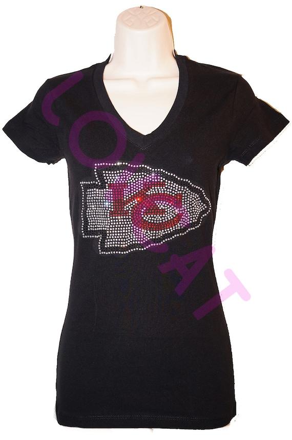 Kansas city chiefs jersey bling rhinestone t shirt by for Custom shirts kansas city