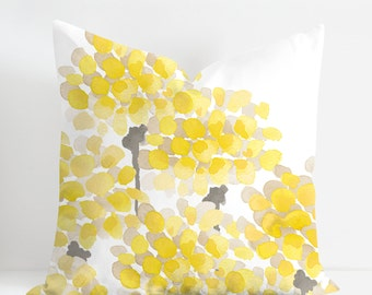 Yellow Floral Cushion Cover, Yellow Petals Pillow Cover, Designer Watercolor Throw Cushion, Unique Decorative Cushion Watercolor Pillow Case
