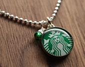 Starbucks Siren logo necklace set in sterling silver, resin and diamond cut sterling silver chain. Made from recycled, upcycled  gift cards.