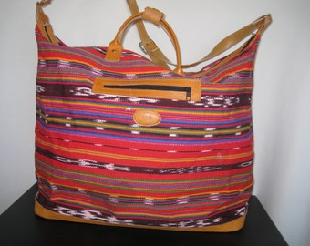 Vintage Ethnic Tapestry and  Leather LARGE Shoulder Bag Tote Bag