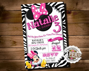 ZEBRA MINNIE MOUSE Birthday Invitation, Minnie Mouse Party Ideas, Pink Frosting Paperie