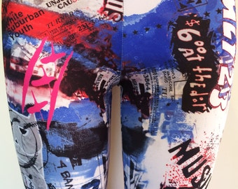 Soul Trend Womens Leggings/Tights/Printed Nylon Spandex Stretch Fabric/White Blue Pink  Black City Print Activewear New