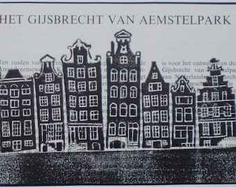 One-off handmade linoprint of Amsterdam canal houses printed onto old journal text about Het Gijsbrecht van Aemstelpark. Signed, unframed.