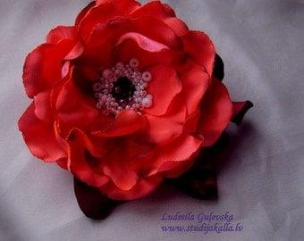Handmade fluorescent pink satin flower brooch, flower clip & pin