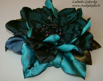 Handmade aeruginous satin flower brooch, flower clip & pin