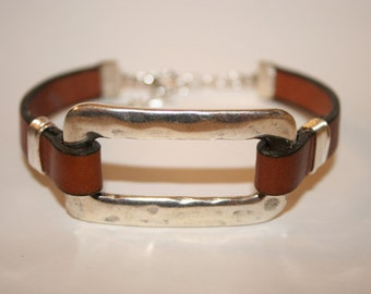 Women's Brown Leather Bracelet with Hammered Silver Component & wired silver - 7""