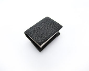 Handcrafted Miniature Book Brooch For Her or For Him - Black Leather Bound Tome - Small Unisex Book Accessory - Ex Libris