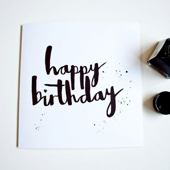 happy birthday hand lettering items similar to happy birthday card handlettering 11662