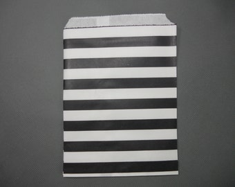 Black Sailor Striped Paper Bags,Set of 25  Party Paper Bags, Candy Buffet Party Favor Wedding ,5 x 7 Medium Goodie Bags