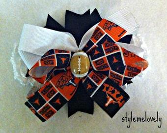 Texas Longhorns Baby Girl Boutique Bow Crocheted Headband