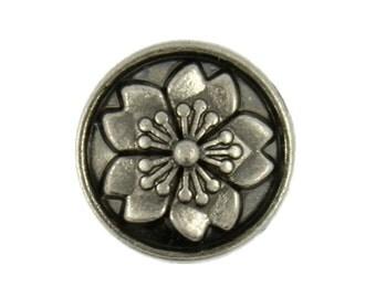 Flower Metal Buttons - Sakura Flower Nickel Silver Metal Shank Buttons - 12mm - 15/32 inch - 12 pcs