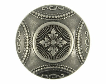 Metal Buttons - Carpet Pattern Nickel Silver Metal Shank Buttons - 23mm - 7/8 inch - 6 pcs