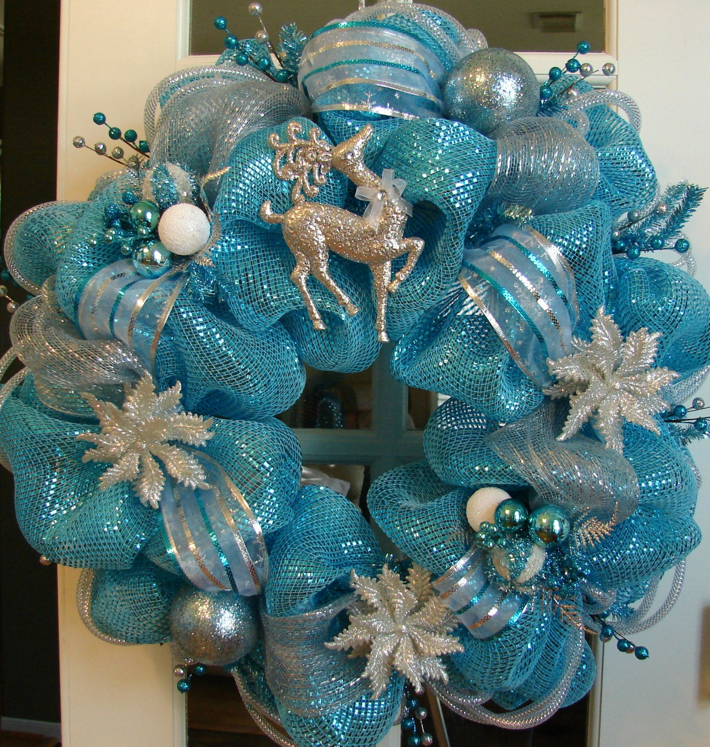Christmas Wreath Winter Holiday Turquoise Blue By