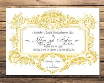 Custom Printable Wedding Invitation ~ Ornate Vintage Frame ~