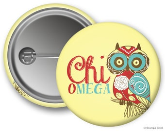 ChiO Chi Omega Owl Sorority Greek Button