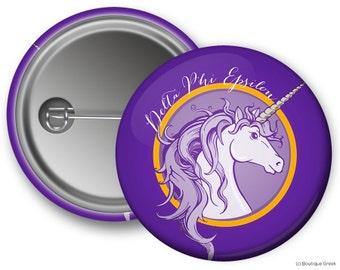 DPhiE Delta Phi Epsilon Unicorn Sorority Greek Button