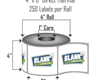 """4"""" x 6"""" Direct Thermal Labels.  4 Rolls, 250 Labels on Each Roll.  1,000 total Shipping Labels!  Use with Zebra 2844, LP, ZP, Eltron, etc."""