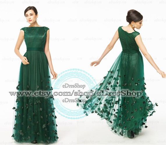 Forest green prom dresses 2014 modest mother of the by for Forest green wedding dress