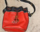 Dooney & Bourke Bucket Purse, Red w Blue Trim, Leather