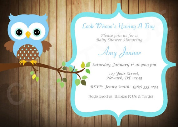 Wood owl baby shower invitation blue owl baby shower invite il570xn filmwisefo