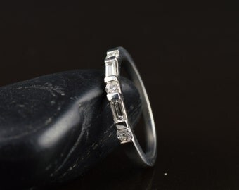 Jessica B - Diamond Wedding Band in White Gold, Round Brilliant and Baguette Cut, Alternating Bar Setting, 3/8 Eternity Style, Free Shipping