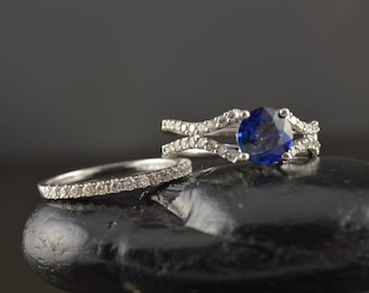 Blue Sapphire and Diamond Engagement Ring with Diamond Wedding Band, Split Shank Design, All-Natural Sapphire, Prong Set, Lucia Set