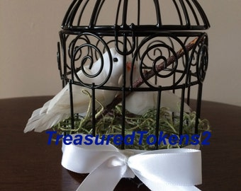 Birdcage with Doves / Wedding Birdcage Centerpiece / Small Metal Birdcage / Love Doves Favor / White Dove Wedding / Decorated Metal Birdcage