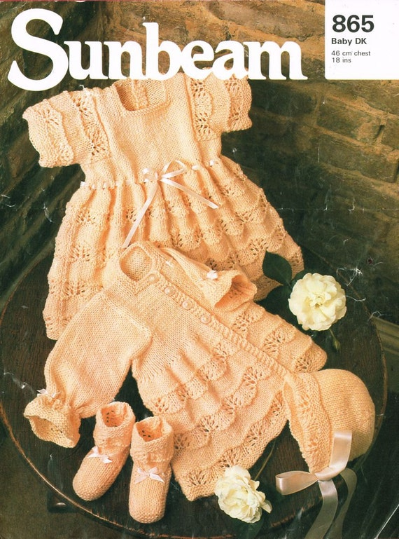 Sunbeam Knitting Patterns : Sunbeam 865 baby matinee coat and dress set vintage knitting