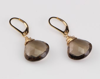 Drop Earrings, Smokey Quartz, Heart Briolette Earrings on 14kt Gold Filled Leverback Ear Wires