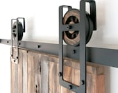 Industrial European Square Horseshoe Sliding Steel Barn Wood Door