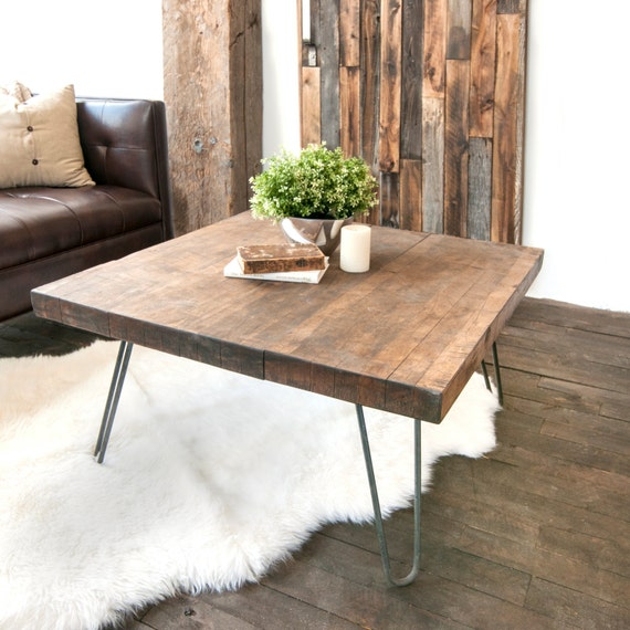 Etsy Wood Oval Coffee Table: Wooden Coffee Table Salvaged Butcher Block Barn Wood Coffee