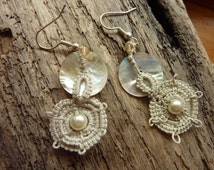 Handmade tatted earrings in pale grey, nacre and pearls