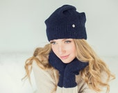 Navy blue slouchy beanie for women, alpaca wool / deep blue baby alpaca wool hat / Over-sized hand knitted hat /  adult hat / hat for winter