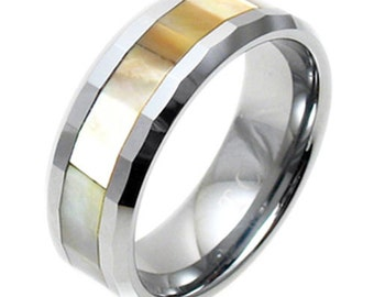 Tungsten Faceted Mother of Pearl Stripe Beveled Wedding Band Ring Size 7-14 TW