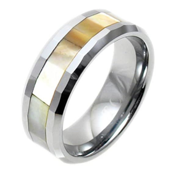 Tungsten Faceted Mother Of Pearl Stripe Beveled Wedding Band