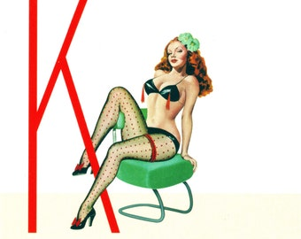 K is for Kinky Pin-Up Girl Poster