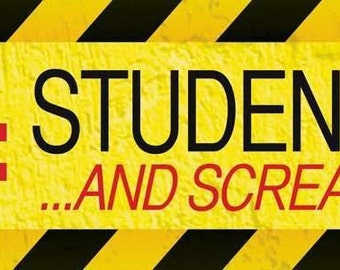 Magnetic Bumper Sticker 'Caution Student Driver and Screaming Parent', 12 x 3 inches