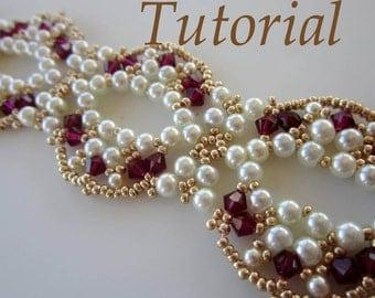 PDF beaded bracelet EKATERINA - beading- pattern- Swarovski crystals