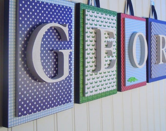 Nursery letters, Boys nursery letters,Alligator Nursery,Boys Bedroom Letters, Plaid Letters, Boys Wooden Letters, Hanging Wall Letters, Boy